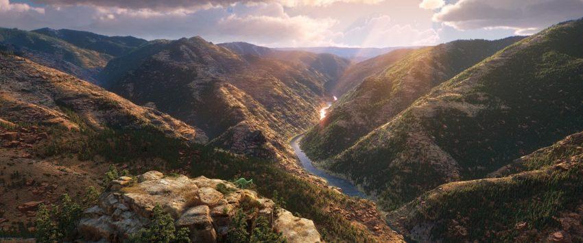 Szenenbild aus THE GOOD DINOSAUR - ARLO & SPOT - © 2015 Disney-Pixar. All Rights Reserved.