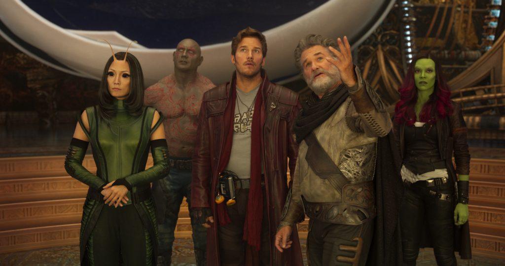 Mantis (Pom Klementieff), Drax (Dave Bautista), Peter Quill (Chris Pratt), Ego (Kurt Russell) und Gamora (Zoe Saldana) - © Marvel Studios 2017