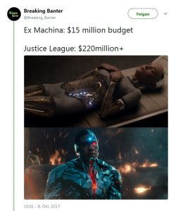 Comparison Special Effects Cyborg (Justice League) and Ava (Ex Machina) - Screenshot 28.02.2018