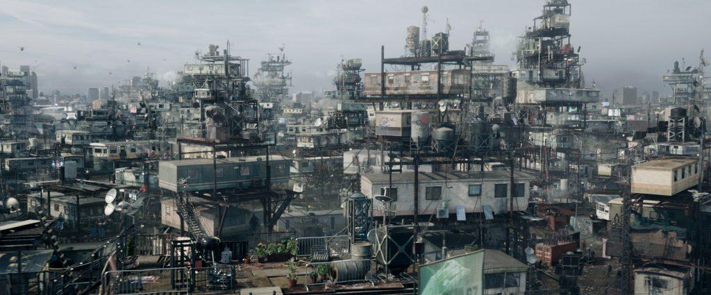 """Szenenbild aus READY PLAYER ONE (2018) - Die """"Stacks"""", das Ghetto von Columbus, Ohio im Jahr 2045 - © Warner Bros. Pictures"""